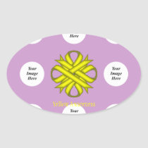 Yellow Clover Ribbon Template Oval Sticker