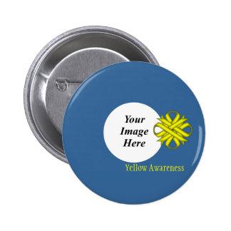 Yellow Clover Ribbon Template Pinback Button
