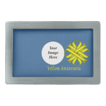 Yellow Clover Ribbon Template Rectangular Belt Buckle