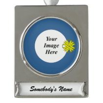 Yellow Clover Ribbon Template Silver Plated Banner Ornament