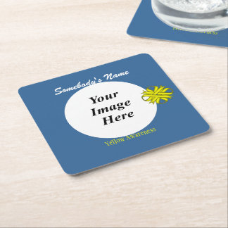 Yellow Clover Ribbon Template Square Paper Coaster