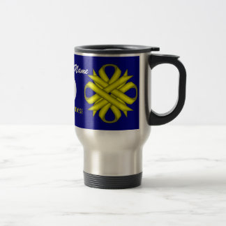 Yellow Clover Ribbon Template Travel Mug
