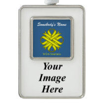 Yellow Clover Ribbon Template (V-I) Silver Plated Framed Ornament