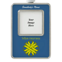 Yellow Clover Ribbon Template (V-O) Christmas Ornament