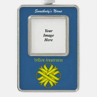 Yellow Clover Ribbon Template (V-O) Christmas Ornament
