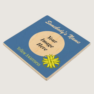 Yellow Clover Ribbon Tmpl by Kenneth Yoncich Wooden Coaster