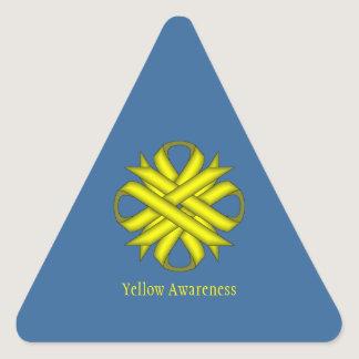 Yellow Clover Ribbon Triangle Sticker