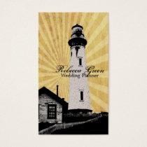Yellow Coastal Nautical Lighthouse Wedding Business Card
