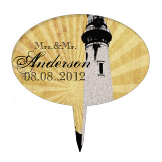 Yellow Coastal Nautical Lighthouse Wedding Cake Topper