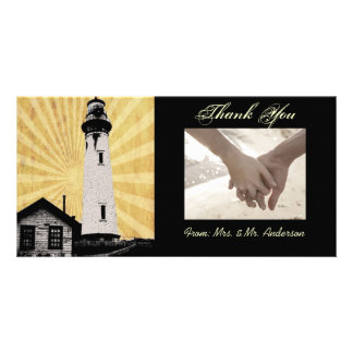 Yellow Coastal Nautical Lighthouse Wedding Card