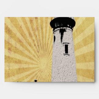 Yellow Coastal Nautical Lighthouse Wedding Envelope