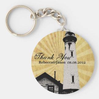 Yellow Coastal Nautical Lighthouse Wedding favor Keychain