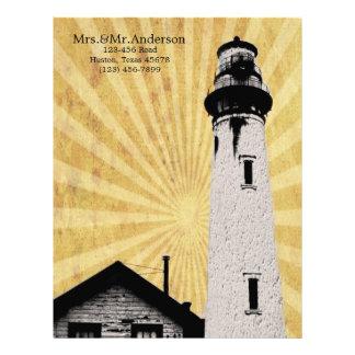 Yellow Coastal Nautical Lighthouse Wedding Letterhead