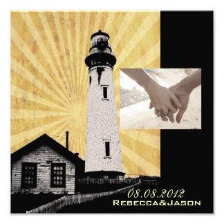 Yellow Coastal Nautical Lighthouse Wedding Photo Print