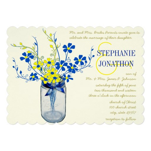 Yellow Cobalt Blue Mason Jar Wild Flower Wedding Personalized Invite