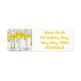 Yellow cocktail and ribbon label