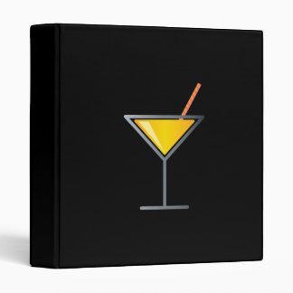 Yellow Cocktail Martini Glass 3 Ring Binder