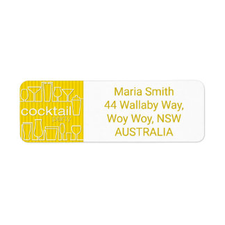 Yellow cocktail party label