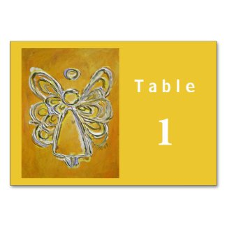 Yellow Color Series Angel Custom Table Cards