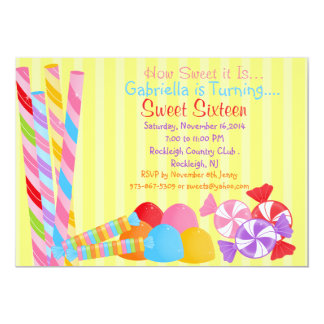 Yellow Colorful Lots of Candy Sweet 16 Invitation
