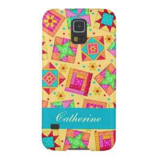 Yellow Colorful Patchwork Quilt Block Custom Case For Galaxy S5
