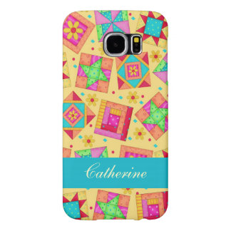 Yellow Colorful Patchwork Quilt Block Custom Samsung Galaxy S6 Cases