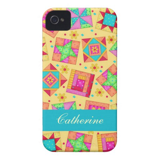 Yellow Colorful Patchwork Quilt Block Custom iPhone 4 Case