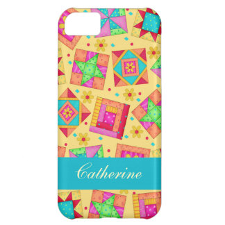 Yellow Colorful Patchwork Quilt Block Custom Cover For iPhone 5C