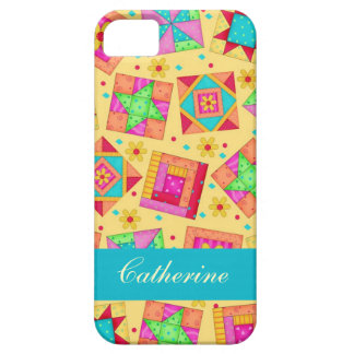 Yellow Colorful Patchwork Quilt Block Custom iPhone SE/5/5s Case