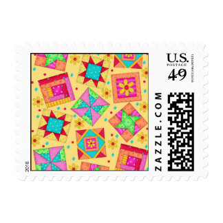 Yellow Colorful Patchwork Quilt Blocks Art Postage