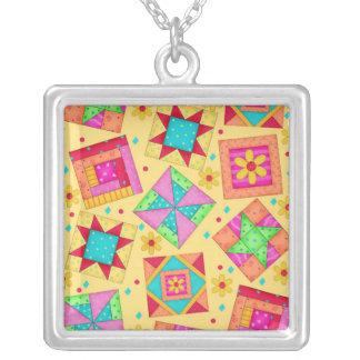 Yellow Colorful Quilt Patchwork Blocks Square Pendant Necklace