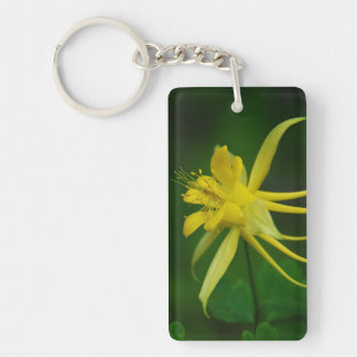 Yellow Columbine (add cell ph# on back) Keychain