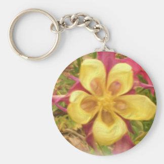 Yellow columbine flower keychain