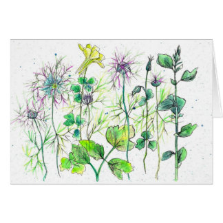Yellow Columbine Wildflowers Watercolor Thank You Card