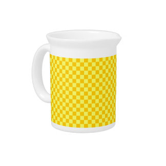 Yellow Combination  Checkerboard by ShirleyTaylor Drink Pitcher
