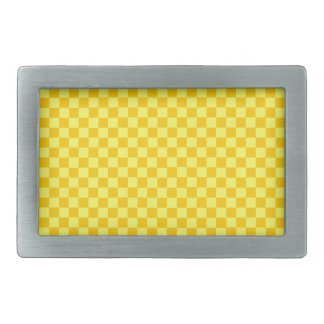 Yellow Combination Classic Checkerboard Rectangular Belt Buckle