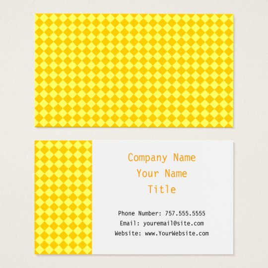 Yellow Combination Diamond Pattern by STaylor Business Card