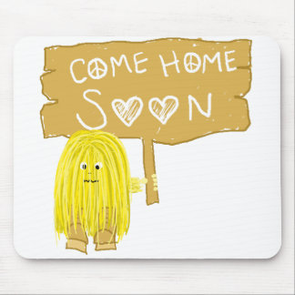 Yellow come home soon mouse pad