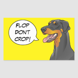Yellow Comic Doberman Cropping Awareness Dog Rectangular Sticker