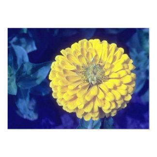 yellow Common Zinnia (Zinnia Elegans) flowers 5x7 Paper Invitation Card
