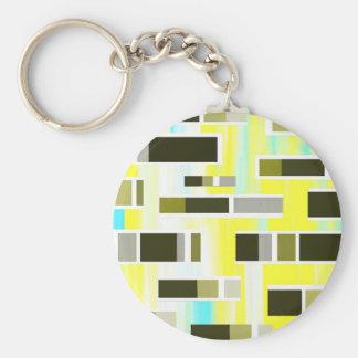 Yellow Composition Basic Round Button Keychain