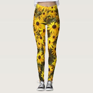 Yellow Coneflower Flowers All Over Print Leggings