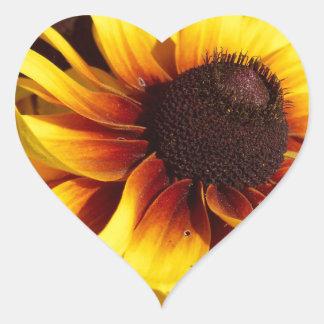 Yellow Coneflower Heart Sticker