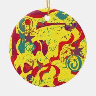 Yellow confusion ceramic ornament