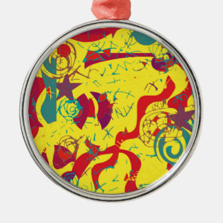 Yellow confusion metal ornament