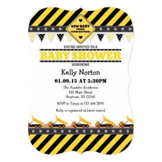 Yellow Construction Baby Shower Invitation