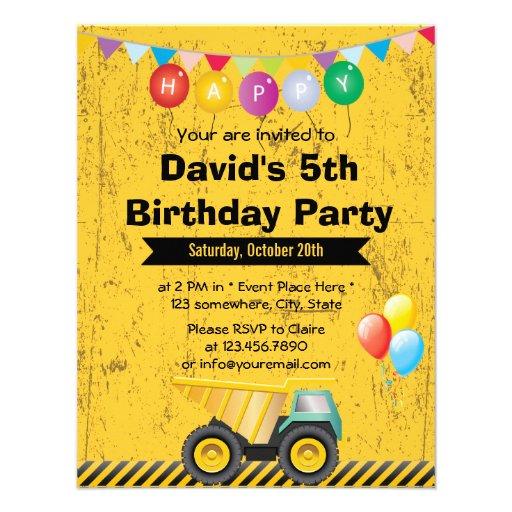 Yellow Construction Truck Boy Birthday Party Custom Invitations