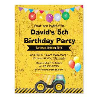 Yellow Construction Truck Boy Birthday Party 4.25x5.5 Paper Invitation Card