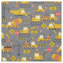 Yellow Construction Truck Vehicles Kids Pattern Fabric