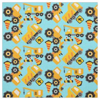 Yellow Construction Vehicles Fabric